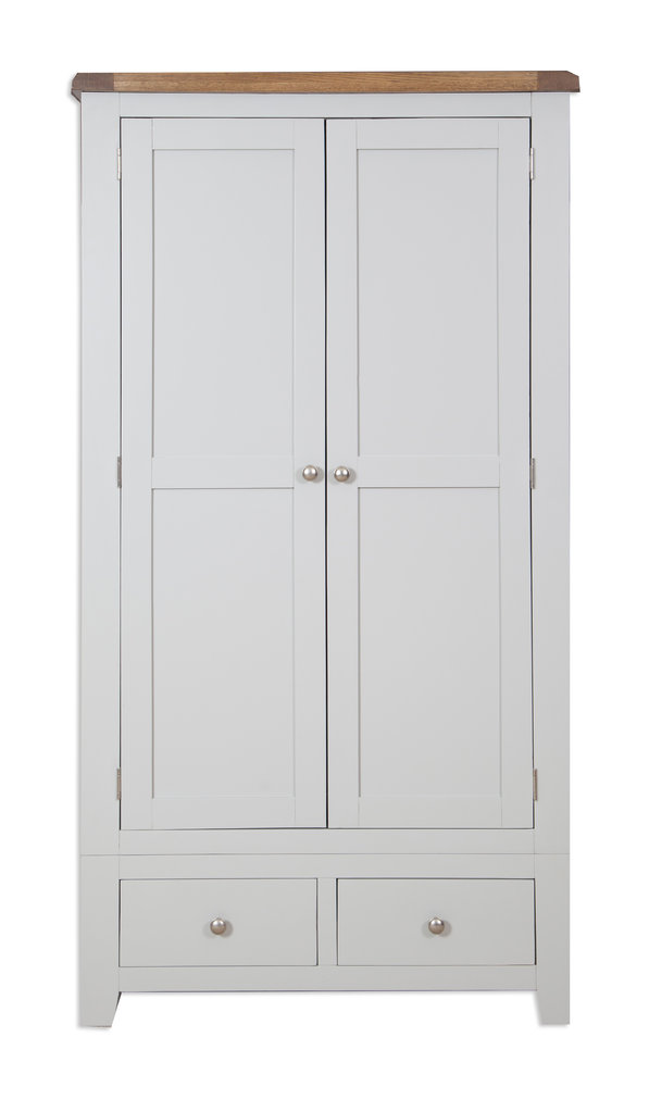 French Grey 2 Door Wardrobe - Quality Indian and Oak Furniture