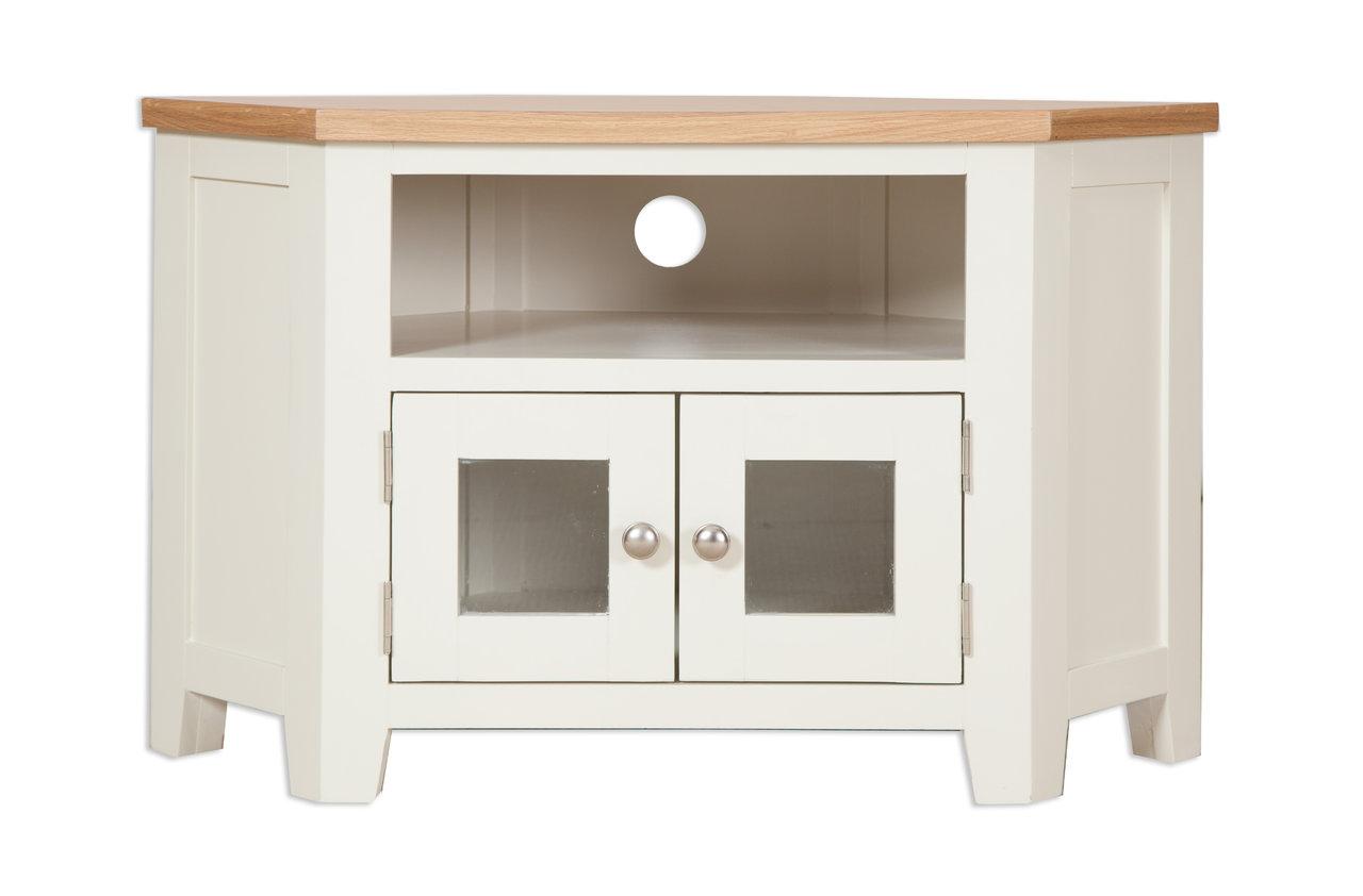 Meblourne Ivory Glazed Corner Tv Cabinet Quality Indian And Oak  # Muebles Petit Corner